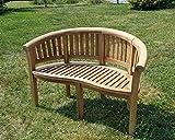 TEAK XL Bananenbank Gartenbank Parkbank Sitzbank 2-Sitzer Bank Gartenmöbel 120cm Holz sehr robust Model COCO von AS-S
