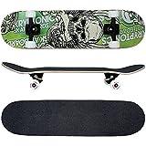 FunTomia Skateboard mit ABEC-11 Kugellager Rollenhärte 100A und 100% 7-lagigem kanadisches Ahornholz (Grün Totenkopf)