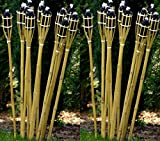 24 Gartenfackel Bambusfackel Holzfarben 120 cm inkl. Dochte STAR-LINE Bambus Garten Dekoration Bambusfackeln Fackel Gartenfackeln Deko Party-Öllampen