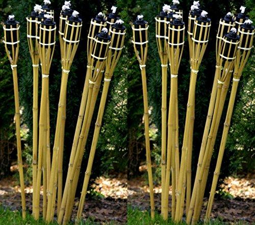 24 Stück Gartenfackel Bambusfackel 90 cm Naturfarbe aus Bambus inkl. Docht + Tank für draussen/ Garten Lampe Öllampe STAR-LINE