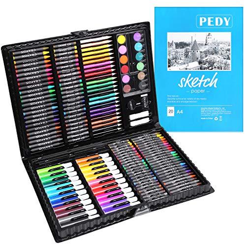 PEDY 164 tlg Malset, Zeichenset für Kinder-inkl. Wachsmalstifte, Wasserfarben, Pastelle, Filzstifte, Radierer, Malbuch im praktischen Malkoffer (Wahl für Weihnachtsgeschenk)