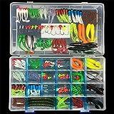 BrilliantDay 146pcs Kunstköder Set künstliche Fischköder Soft-Köder-Fischerei-Gerät Köderhaken with Fishing Tackle Box
