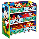 TW24 Aufbewahrungsregal - Spielzeugkiste - Spielzeugtruhe - Disney Regal 6 Boxen mit Motivauswahl (Mickey Mouse)