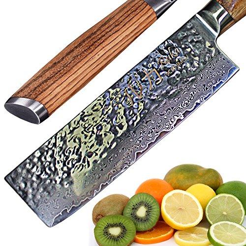 Ruka Damaststahl 17cm Nakiri Messer, hämmeroptik, rasiermesserscharf aus japanischem VG-10 Stahl 67 Lagen, Damast Nakirimesser mit ergonomischem Griff