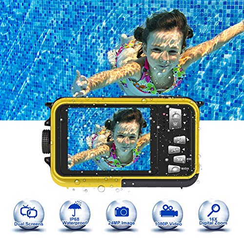 Unterwasserkamera 24.0MP Unterwasser Kamera HD 1080P zum Schnorcheln 3.0 Meter Kamera Wasserdicht Komplett versiegelt 2.7 Zoll TFT-LCD Dual Screen, Gelb