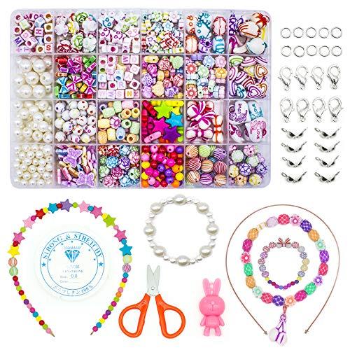 WONDERFORU Perlen zum auffädeln Kinder Schmuck Schnurset, DIY Freundschaftsarmbänder Halsketten Kunsthandwerks-Set für Mädchen Kinder, 24 Farben (perlen zum auffädeln)
