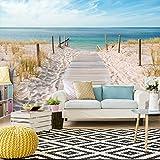 decomonkey | Fototapete Strand blau 400x280 cm | VLIES TAPETE | moderne Wanddeko | Riesen Wandbild | Design | Fototapeten | Wandtapete | Landschaft Meer Wasser Natur beige Sand | FOA0007a84XL