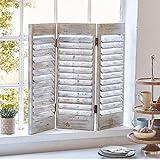 Pureday Dekoobjekt Fenster-Paravent - Shabby Chic - Holz - Antik Weiß