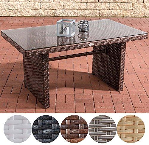 CLP Polyrattan-Gartentisch FISOLO mit einer Tischplatte aus Glas I Wetterbeständiger Tisch aus Kunststoff I In verschiedenen Farben erhältlich Braun Meliert