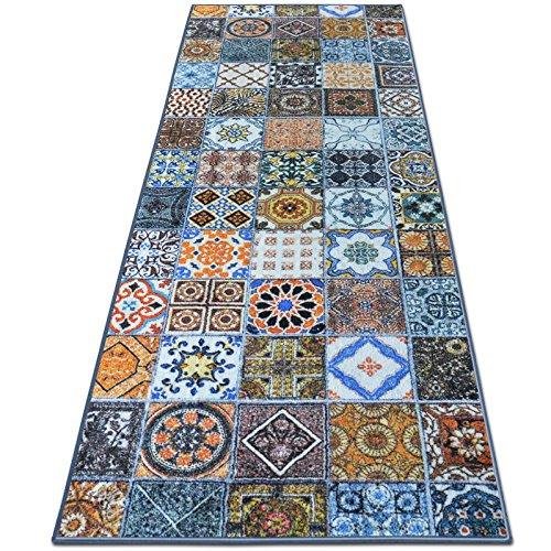 Teppichläufer Bonita | Patchwork Muster im Vintage Look | viele Größen | moderner Teppich Läufer für Flur, Küche, Schlafzimmer | Niederflor Flurläufer, Küchenläufer | Breite 80 cm x Länge 300 cm
