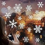 Cusfull 108 Stück weiße Schneeflocken Fenster Aufkleber Weihnachten Fensterdeko elektrostatischer Aufkleber Winter Ornamente Party Deko