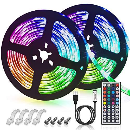 GLIME LED Streifen 6M Led Stripes RGB 5050SMD LED Bänder Lichtband mit 44 Tasten Fernbedienung 6 Modi 20 Farben dimmbar IP65 Wasserdicht Led Strip für TV Beleuchtung, Schrank, Balkon, Haus Deko 2x3m