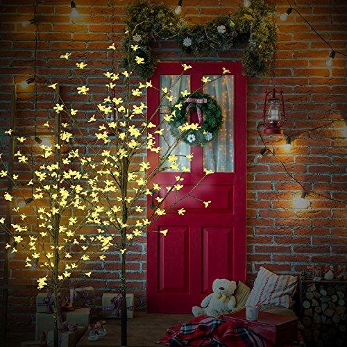 LED Baum Kirschbaum Lichterbaum Baum Weihnachten Innen 150 180 220 cm, Farbe:Warmweiß, Größe:220cm