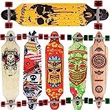 [Maronad.GCP] Longboard Skateboard drop through Race Cruiser ABEC-11 Skateboard 104x24cm Streetsurfer skaten SKULL
