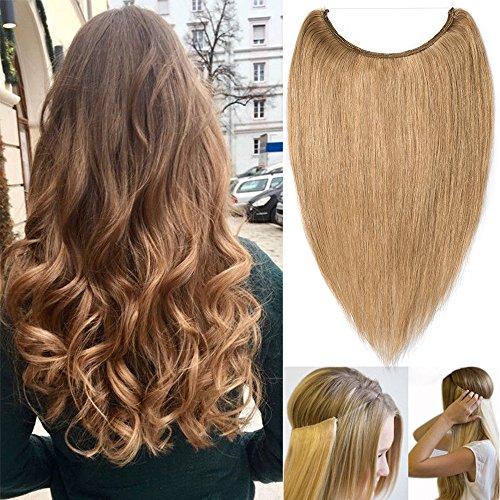 Extensions Echthaar mit Unsichtbarer Draht Dunkelblond - Haarverlängerungen Haarteile Glatt Haarverdichtung Keine Clip 18'-65g