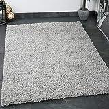 VIMODA Prime Shaggy Grau Hochflor Langflor Modern für Wohnzimmer Schlafzimmer Einfarbig, Maße:70x250 cm Teppich, Polypropylen,
