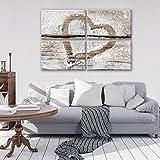 FORWALL Leinwandbild Wandbild Herz auf Holz Bild Canvas S10 (120cm. x 80cm. (4x60x40)) AMFPS11789S10