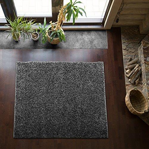 Shaggy-Teppich | Flauschiger Hochflor fürs Wohnzimmer, Schlafzimmer oder Kinderzimmer | einfarbig, schadstoffgeprüft, allergikergeeignet in Farbe: Dunkelgrau; Größe: 250 x 250 cm quadratisch