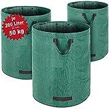 3er Set Laubsack Gartenabfallsack Garten 840L (3x 280 Liter) | 3 Tragegriffe | doppelte Nähte | bis zu 50kg belastbar | platzsparend zusammenfaltbar | Gartentasche Gartensack Rasensack