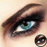 Farbige PREMIUM Kontaktlinsen - CALYPSO Blue-Beige - Silikon Hydrogel - Monatslinsen von LUXDELUX - No.9
