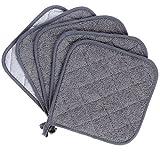 100% Baumwolle Küche Everyday Basic Terry Topflappen hitzebeständig Untersetzer Topflappen für Kochen und Backen Set von 5 (Grau)