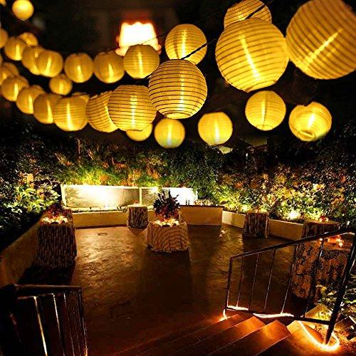 Qedertek Solar Lichterkette LED Lampion Außen 6 Meter 30 LED 2 Lichtarten Modi Außenlichterkette Wasserdicht mit Lichtsensor Weihnachtsbeleuchtung Beleuchtung Deko für Außen & Innen,Weihnachten, Hochzeit, Party, Fest (Warmweiß)
