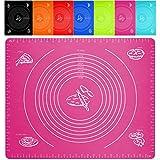 Belmalia Große Teigmatte, Ausrollmatte, Backmatte, hitzebeständig, Silikon für Ihre Pizza, Teig, Fondant, Backen, Küche 50x40cm Rosa Pink