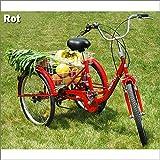 RMAN Dreirad Für Erwachsene Erwachsenendreirad Seniorenrad Lastenfahrrad 24' Shimano 6-Gang-Schaltung Rot