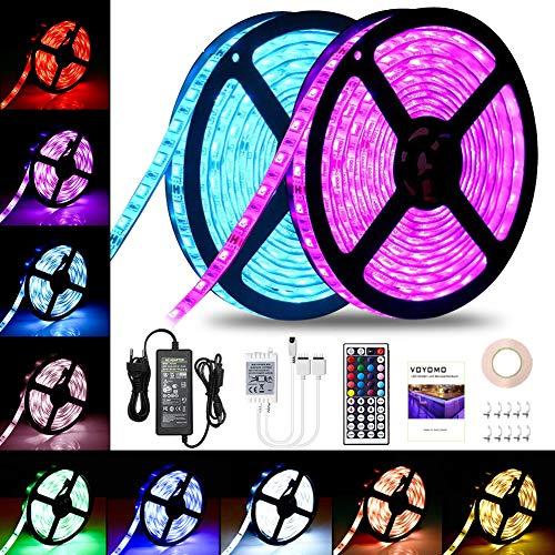 LED Streifen 10M, VOYOMO LED Strips RGB 300LEDs SMD5050, 20 Farben mit 44 Tasten IR-Fernbedienung, 12V 5A Netzteil IP65 Wasserdicht für Beleuchtung Deko (umfassen Klebeband und Schnallen)