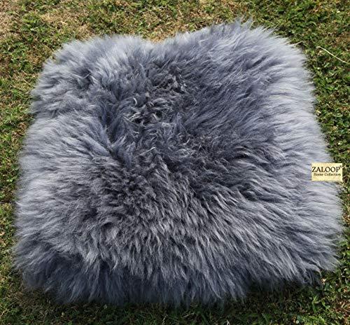 Zaloop Sitzkissen aus echtem Lammfell in versch. Farben und Größen auch medizinisch echt Fell (grau, ca. 40 x 40 cm)