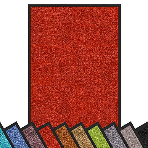 Schmutzfangmatte Rhine | Öko-Tex Standard 100 | waschbare & extra leistungsstarke Fußmatte | Sauberlaufmatte mit Rutschfester Rückseite | Türmatte in vielen Größen & Farben (90x150 cm, Rot)