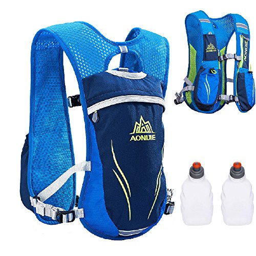 TRIWONDER Trinkrucksack Rucksack 5.5L im Freien Mochilas Trail Marathoner Laufrennen Trinkweste (Blau - mit 2 Wasserflaschen)