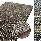 Kurzflor Teppich Carlton | Flachgewebe dezent gemustert | robuster Schlingenteppich in vielen Größen | als Wohnzimmerteppich, Küchenteppich, Schlafzimmerteppich (Braun - 160x160 cm)