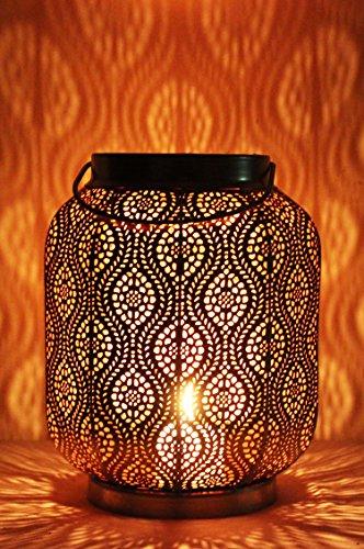 Orientalische Laterne aus Metall Baghira Schwarz 26cm | orientalisches Marokkanisches Windlicht Gartenwindlicht | Marokkanische Metalllaterne für draußen als Gartenlaterne, oder Innen als Tischlaterne