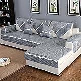 HM&DX Anti-rutsch Sofa Abdeckung Für Sektionaltore Couch Baumwolle Polyester Gesteppter Sofa Überwurf Multi-Size Sofahusse Für Wohnzimmer-Dark Grey Kissenbezug 45x45cm(18x18inch)