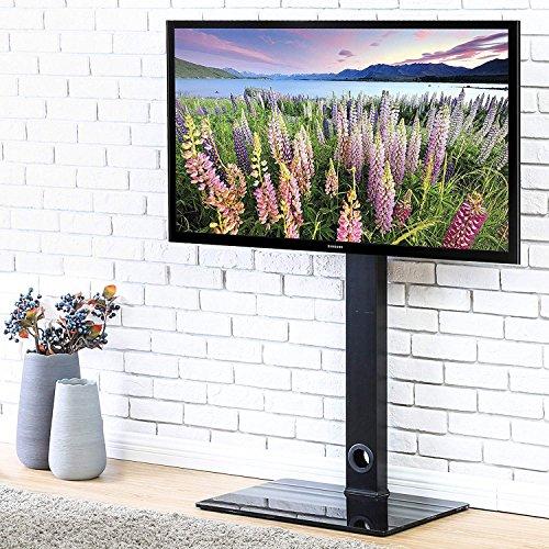 FITUEYES TV Bodenständer Glas Universal höhenverstellbar schwenkbar für 32 bis 50 Zoll Flachbildschirm Aufsatz Möbel Rack Schwarz TT106001MB