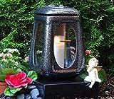 Grablaterne Grablicht Keramik Silber Glas Kreuz mit Grabkerze Grablampe Grabschmuck Grableuchte Laterne Grabkerze Lampe Kerze Licht Friedhof Garten