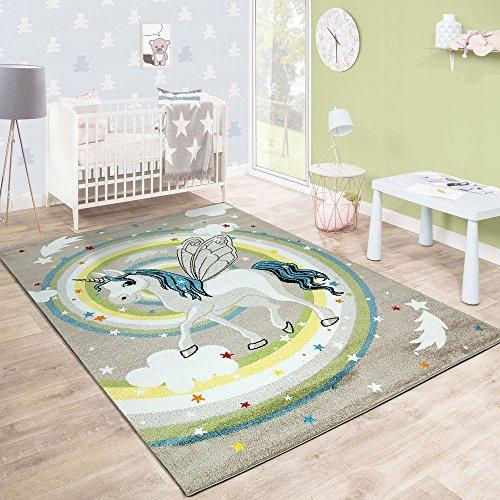 Paco Home Kinderteppich Kinderzimmer Fliegendes Einhorn Regenbogen Sterne Mädchen In Beige, Grösse:160x230 cm