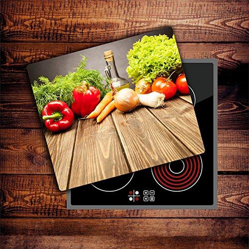 CTC-Trade | Herdabdeckplatten 60x52 cm Ceranfeld Abdeckung Glas Spritzschutz Abdeckplatte Glasplatte Herd Ceranfeldabdeckung Küche Gemüse