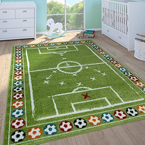 Paco Home Kinderteppich Kinderzimmer Spielteppich Kurzflor Spielfeld Fußball In Grün, Grösse:120x170 cm
