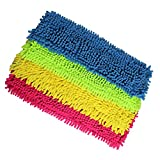 COM-FOUR 4er Set Ersatz-Bodenwischer - Microfaser Chenille (Blau/Pink/Gelb/Neon-Grün)