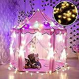 WER Pink Princess Castle Kinder Spielzelt mit 3m weiß Stern Leuchten Kinder Playhouse Innen- und Outdoor-Nutzung (Pink Castle + weiß Sterne)