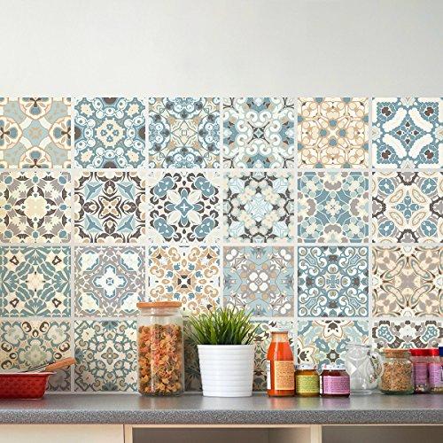 24Aufkleber Fliesen | Sticker Selbstklebend Fliesen–Mosaik Fliesen Wandtattoo Badezimmer und Küche | Fliesen Kleber–Design authentischen–10x 10cm–24-teilig