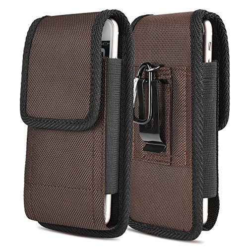 iNNEXT iPhone 7 Plus Vertikal Gürtel Tasche, Handytasche Gürteltasche Gürtelclip Fall Pouch Oxford Canvas für Galaxy S8 Plus/iPhone 6 6S Plus,Oneplus 5,Galaxy S6Edge Plus(Braun 5.5inch)