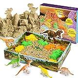 Magicfun 3D Kinetic Sand Set Beinhaltet 500g natürlichen Indoor Spielsand, 10 Dinosaurier Förmchen, 1 Beutel Dinosaurier Fossilien und 1 3D Sand-Box zum Formen von Figuren. Set für Kinder