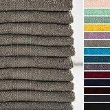 Lumaland Premium 10er Set Gästetücher Handtücher Frottee 30 x 50 cm aus 100% Baumwolle 500 g/m² mit Aufhänger Taupe