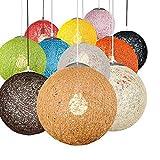 Huahan Haituo Moderne Schwarz Gitter Wicker Rattan Globus Ball Stil Decke Pendelleuchte Lampenschirm Home Esszimmer Dekoration Lampen (Rot, 23cm)