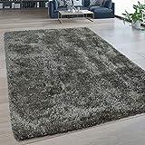 Paco Home Hochflor Wohnzimmer Teppich Waschbar Shaggy Flokati Optik Einfarbig In Grau, Grösse:150x220 cm