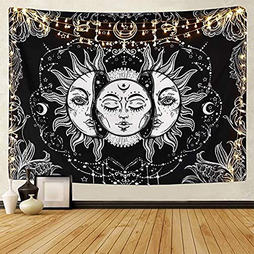LOMOHOO Tarot-Wandteppich Sonne und Mond Psychedelische Tapisserie Schwarz Himmlisch Wandbehang Wandteppiche indisch Mandala Bohemien Hippie Strand werfen