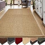 casa pura Sisal Teppich aus Naturfasern | natur | mit Bordüre aus Baumwolle | pflegeleicht | Größe wählbar (70x130 cm)